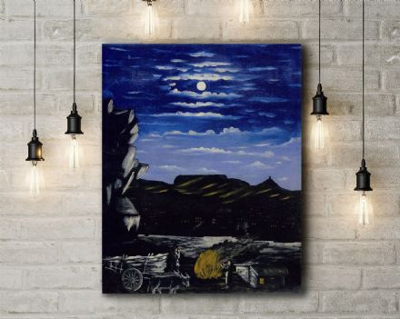 Niko Pirosmani: Arsenali Mountain at Night. Fine Art Canvas.